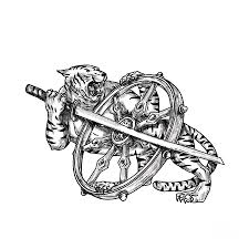 Tiger With Katana And Dharma Wheel Tattoo By Aloysius Patrimonio