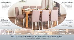 Wooden Nature Esstisch Set 310 Inkl 8 Stühle Rosa Buche Massivholz 160 X 90 L X B