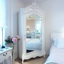 white wood wardrobe armoire shabby chic bedroom. In ❤Chateau White Mirrored Armoire : Beau Decor French / Shabby Chic Style Wood Wardrobe Bedroom E