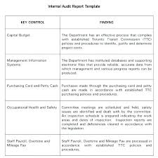 It Audit Report Template Awesome Internal Audit Report Template Templates Free Findings Example