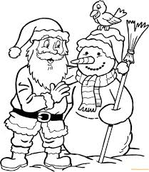 Small Picture Snowman and Santa Claus Coloring Page Free Coloring Pages Online