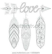 Bohemian Coloring Pages Arrow Hand Drawn Amulet Word Love And