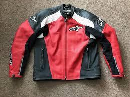 alpinestars leather motorcycle jacket red black white tz 1 eu54 uk44