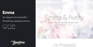 Wedding Wordpress Theme Emma Beautiful Wedding Engagement Celebration Wordpress Theme By