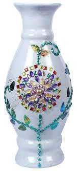 decorative glass gems white flower vase with colorful fl glass gems handmade decorative flower pot in decorative glass gems