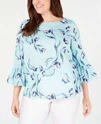 Charter Club <b>Plus Size Linen Floral</b>-Print Bell-Sleeve Top, Created ...