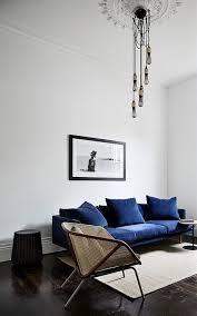 Image Rug Minimalist With Pop Of Color Blue Sofas Blue Velvet Sofa Living Room Pinterest Minimalist With Pop Of Color Abode Living Room Designs