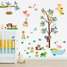 baby zoo animals nursery. Interesting Nursery Forest Zoo Animals Owl Monkey Dog Tree Wall Sticker Decal Bedroom  Decorative Kids Baby Nursery Throughout
