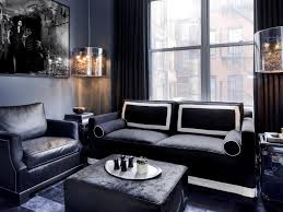 living room gray contemporary masculine living room design with black leather sofa also hanging glass