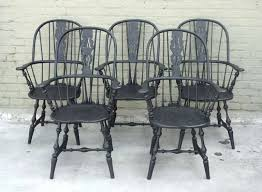black windsor chairs. Fantastic Set Of Five Matching Black Painted 19thc Brace Back Extended Arm Windsor Chairs From New D