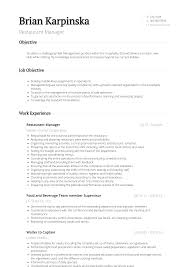 Resume Restaurant Manager Restaurant Manager Resume Samples And Templates Visualcv