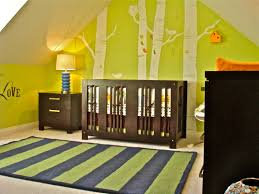 green nursery furniture. Stunning Brown Wooden Furniture Nursery Sets With Convertible Baby Cribs And Table Nighstands As Well Green Sticker Wall Decals In Attic Boy Rooms