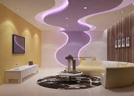 outstanding living room false ceiling design white cream purple accent painted wall white tile floor black