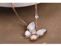 whole jig jewellery four leaf clover 18k gold pearl white frlaria small erfly necklace female diamond pendant chain rose gold pendant necklace