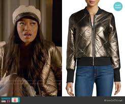WornOnTV: Zayday's gold quilted jacket on Scream Queens | Keke ... & John & Jenn Metallic Quilted Faux-Leather Zip-Front Jacket worn by Keke  Palmer Adamdwight.com