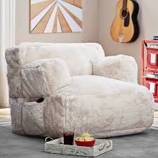 Ivory Faux Plush Lounge Chair With Buildin Speakers For Your Snoozing Soundtrack Pinterest Plush Lounge Chair With Buildin Speakers For Your Snoozing