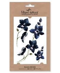 акварельные переводные тату Miami Tattoos Black Orchid
