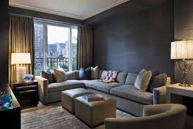 Beautiful Small Living Room Design Interior with Modern Grey Sectional Sofa  Furniture and Elegant Table Lampshade Ideas