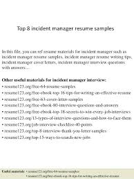 Offshore Resume Samples Top 8 Incident Manager Resume Samples In