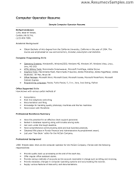 Resume Format For Computer Operator Job It Resume Cover Letter