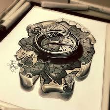 тату эскиз компас и карта эскиз нарисован лайнерами и карандашами