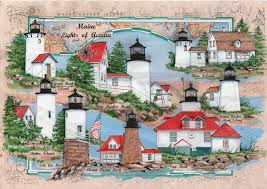 Chart House Maine Maine Lights Of Acadia Sea Chart Light Collage Original Painting