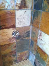slate tile in shower stall after cleaning and sealing az tile grout care tucson