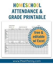 Free And Editable With Excel Homeschool Attendance And Grade