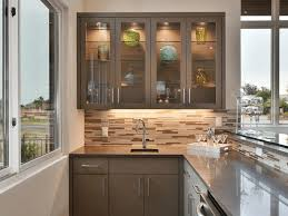 clear cabinet glass and shelves in kitchen
