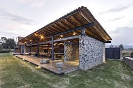 modern home architecture stone. Amazing Back Space Of The Vr Tapalpa House Elias Rizo Arquitectos With Bright Lighting And Stone Modern Home Architecture