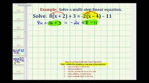 watch the following s on solving multi step equations with paheses distributive property and take notes in your journal