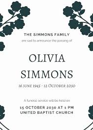Memorial Service Announcement Template Lovely Printable Obituary