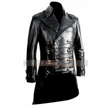 replica impero london mens black brown luxury leather military tailcoat jacket