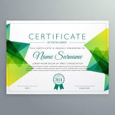 Polygonal Green Achievement Certificate Template Vector Free Download