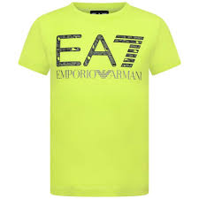 Lime Green Designer T Shirt Ea7 Boys Lime Cotton Top Boys Designer Tops T Shirts