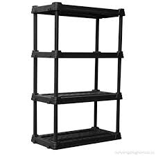 4 tier plastic freestanding shelving display unit 56 5 in h x 36 in w x 18 in d b0768t56pd