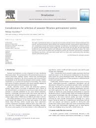 Design Guidelines Of Seawater Intake Systems Pdf Swro Pre Treatment Systems Choosing Between