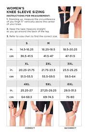 Knee Sleeve Size Chart Womens Core Compression Knee Sleeve