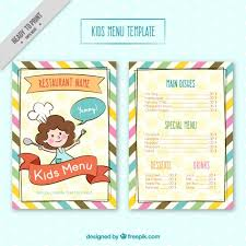 Free Templates For Kids Kids Menu Template With Colores Stripes Vector Free Download