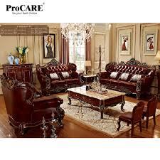 Luxe 3 Verschillende Sets Rode Massief Hout Lederen Sofa Set