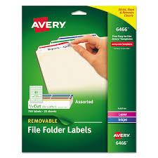 Avery Removable 1 3 Cut File Folder Labels Inkjet Laser 66 X 3 44