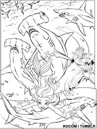 Small Picture Cyclops Saves Ariel from Killer Hammerhead Sharks Coloring Page