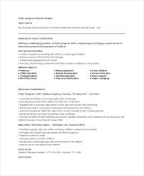 Child Caregiver Resume Example
