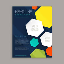 business brochure with colorful hexagonal shapes free vector