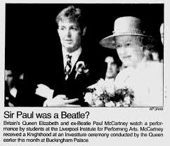 Image result for McCartney was knighted by Queen Elizabeth II in 1997 for his contribution to British culture.