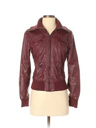 ci sono women red faux leather jacket sm