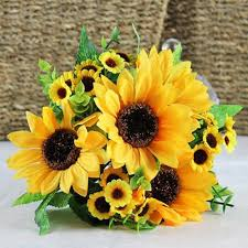 Sunflower home decor Fall Bouquet Artificial Silk Sunflower 7stems Flowers For Home Decoration Wedding Decor Bride Holding Flowers Floral Decors Amazoncouk Kitchen Home Amazon Uk Bouquet Artificial Silk Sunflower 7stems Flowers For Home