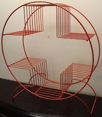 Mid Century Plant Stand Vintage Mid Century Modern Retro Round Circle Orange Metal Wire