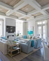 beachy living room. Coastal Living Room With Turquoise Accents Beachy E