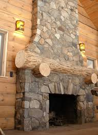 decorations modern rustic stone fireplace with wooden fireplace mantel also brown leather sofa and cream